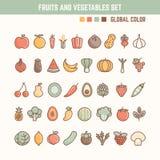 Vruchten en groenten de reeks van het overzichtspictogram Royalty-vrije Stock Foto's
