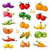 Vruchten en groenten De Vector van natuurvoedingpictogrammen vector illustratie