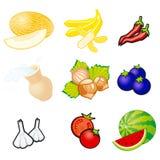 Vruchten en groenten De vectorillustratie van natuurvoedingpictogrammen vector illustratie