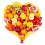 Vruchten en groenten die in de vorm van hart worden geïsoleerd Royalty-vrije Stock Foto's