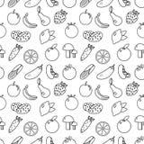 Vruchten en groenten het naadloze patroon van de lijnstijl Vruchten en groentenkrabbel naadloos patroon Vruchten en groentenoverz vector illustratie