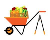 Vruchten en groenten in kruiwagen vectorillustratie Stock Afbeeldingen