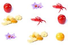 Vruchten en groenten op een witte achtergrond Stock Fotografie