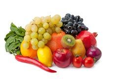 Vruchten en groenten op een witte achtergrond worden geïsoleerd die Stock Foto