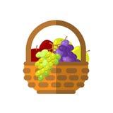 Vruchten en groenten in rieten mand vectorillustratie Stock Afbeelding