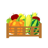 Vruchten en groenten in rieten mand vectorillustratie Royalty-vrije Stock Foto