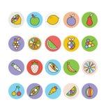 Vruchten en Groenten Vectorpictogrammen 1 Stock Fotografie