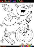 Vruchten en groenten voor het kleuren Stock Afbeeldingen