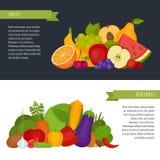 Vruchten en groentenbanner Gezond voedsel Vlakke stijl, vector i royalty-vrije illustratie