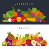 Vruchten en groentenbanner Gezond voedsel Vlakke stijl, vector i stock illustratie