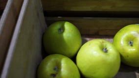 Vruchten en groentendozen in een kruidenierswinkel stock videobeelden
