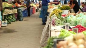 Vruchten en groentenmarkt stock footage