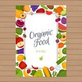Vruchten en groentenmenuachtergrond Gezond voedsel Organische FO vector illustratie
