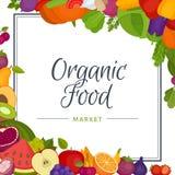 Vruchten en groentenmenuachtergrond Gezond voedsel Organische FO royalty-vrije illustratie