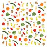 Vruchten en groentenpatroon Stock Afbeelding