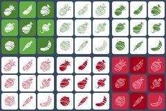 Vruchten en groentenpictogrammen Royalty-vrije Stock Foto's