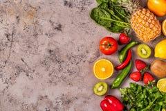 Vruchten en groentenrijken in vitamine C royalty-vrije stock afbeelding