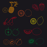 Vruchten en halve vruchten eenvoudige overzichtspictogrammen eps10 Stock Fotografie