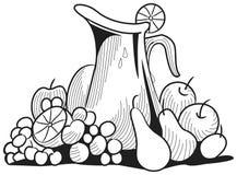 Vruchten en kruik Stock Foto