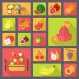 Vruchten en vegetarische geplaatste voedselpictogrammen Stock Foto's