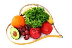 Vruchten en veggies in hartband Stock Afbeelding
