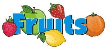 Vruchten en vlue woord Royalty-vrije Stock Foto's