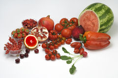 Vruchten gekleurd rood Royalty-vrije Stock Fotografie