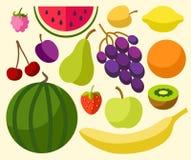 Vruchten, gekleurde bessen, rijp, vlakte Royalty-vrije Stock Afbeeldingen