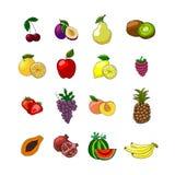 Vruchten geplaatste pictogrammen Royalty-vrije Stock Foto's