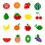 16 vruchten Geplaatste Pictogrammen Royalty-vrije Stock Foto