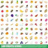 100 vruchten geplaatste pictogrammen, isometrische 3d stijl Stock Fotografie