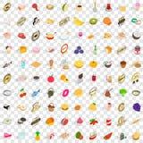 100 vruchten geplaatste pictogrammen, isometrische 3d stijl Royalty-vrije Stock Afbeelding