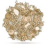 Vruchten, groenten, bessenkrabbel Gezonde voedselachtergrond Autumn Pattern royalty-vrije illustratie