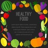 Vruchten, groentenpictogrammen Stock Afbeelding