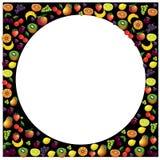 Vruchten kader met verschillende vruchten over donkere achtergrond die, ve wordt gemaakt Stock Foto