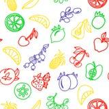 Vruchten kleurrijk contour naadloos patroon voor uw ontwerp vector illustratie