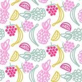 Vruchten krabbels leuk naadloos vectorpatroon Stock Afbeelding