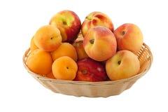 Vruchten in mand met hand - gemaakte het knippen weg Stock Fotografie