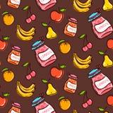 Vruchten naadloos patroon op een bruine achtergrond Royalty-vrije Stock Foto