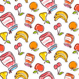 Vruchten naadloos patroon op een witte achtergrond Stock Afbeeldingen