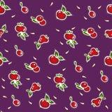 Vruchten naadloos patroon op viooltje Royalty-vrije Stock Afbeeldingen
