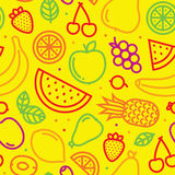 Vruchten naadloos vectorpatroon op geel royalty-vrije illustratie