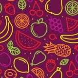 Vruchten naadloos vectorpatroon op purple royalty-vrije illustratie
