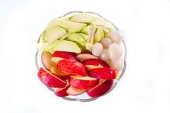 Vruchten op een glasplaat Royalty-vrije Stock Foto