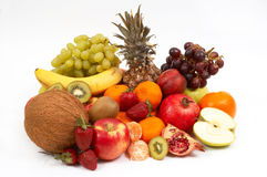 Vruchten op wit Stock Fotografie