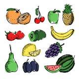 Vruchten op witte achtergrond vector illustratie