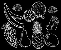 Vruchten op zwarte achtergrond worden geplaatst die Stock Fotografie