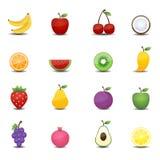 Vruchten pictogrammen Stock Foto