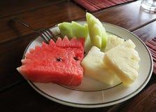 Vruchten plaat met gesneden meloen, watermeloen en ananas stock foto's