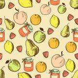 Vruchten in retro stijl naadloos patroon royalty-vrije illustratie